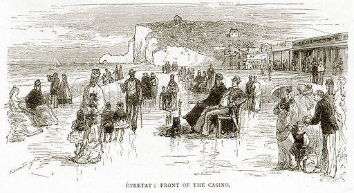 Etretat: front of the Casino. Illustration from French Pictures by Samuel Green (Religious Tract Society, c 1880).