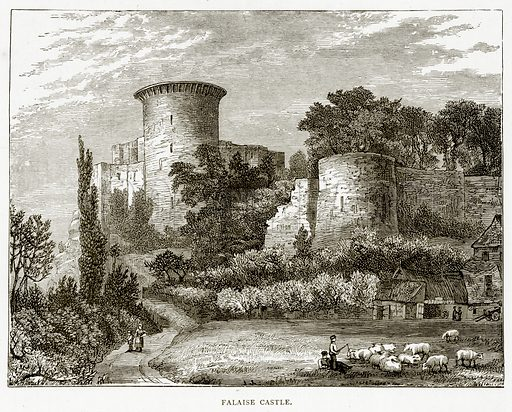 Falaise Castle. Illustration from French Pictures by Samuel Green (Religious Tract Society, c 1880).