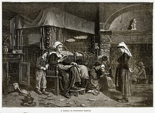 A School in Northern France. Illustration from French Pictures by Samuel Green (Religious Tract Society, c 1880).