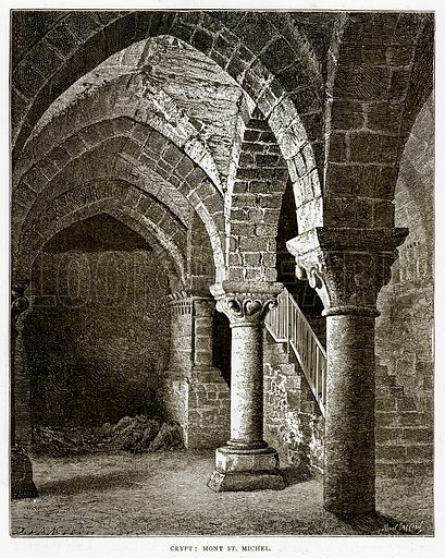 Crypt: Mont St Michel. Illustration from French Pictures by Samuel Green (Religious Tract Society, c 1880).