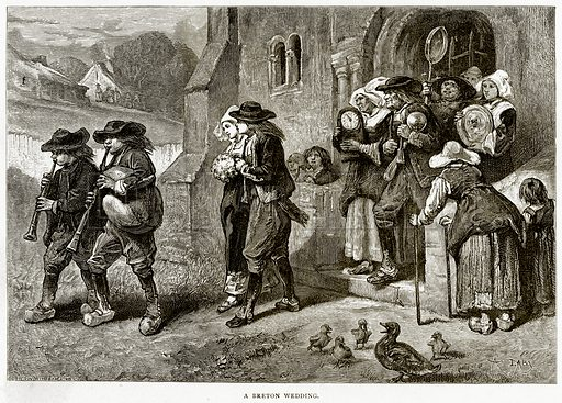 A Breton wedding. Illustration from French Pictures by Samuel Green (Religious Tract Society, c 1880).