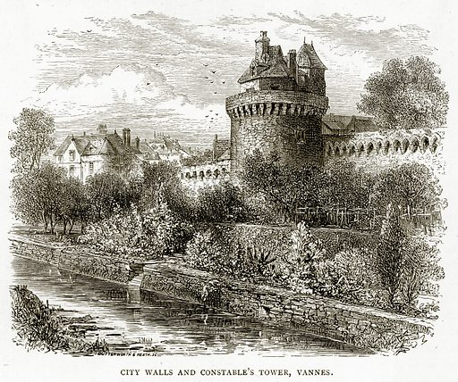 City Walls and Constable's Tower, Vannes. Illustration from French Pictures by Samuel Green (Religious Tract Society, c 1880).