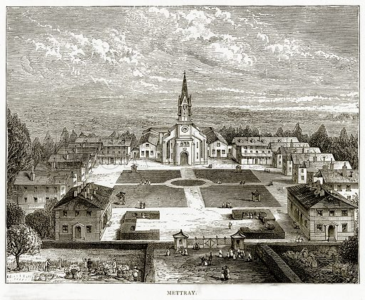 Mettray. Illustration from French Pictures by Samuel Green (Religious Tract Society, c 1880).