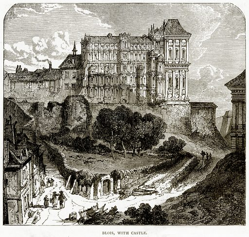 Blois, with Castle. Illustration from French Pictures by Samuel Green (Religious Tract Society, c 1880).