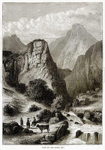 View of the River Arc. Illustration from French Pictures by Samuel Green (Religious Tract Society, c 1880).