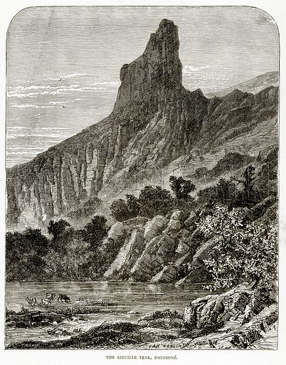 The Aiguille Peak, Dauphine. Illustration from French Pictures by Samuel Green (Religious Tract Society, c 1880).