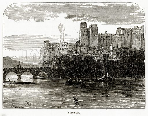 Avignon. Illustration from French Pictures by Samuel Green (Religious Tract Society, c 1880).