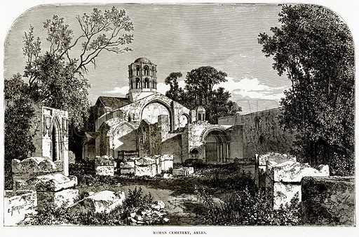 Roman Cemetery, Arles. Illustration from French Pictures by Samuel Green (Religious Tract Society, c 1880).