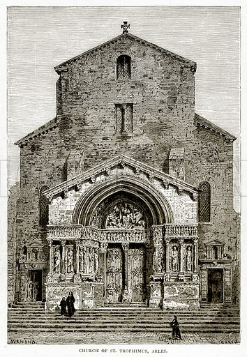 Church of St. Trophimus, Arles. Illustration from French Pictures by Samuel Green (Religious Tract Society, c 1880).