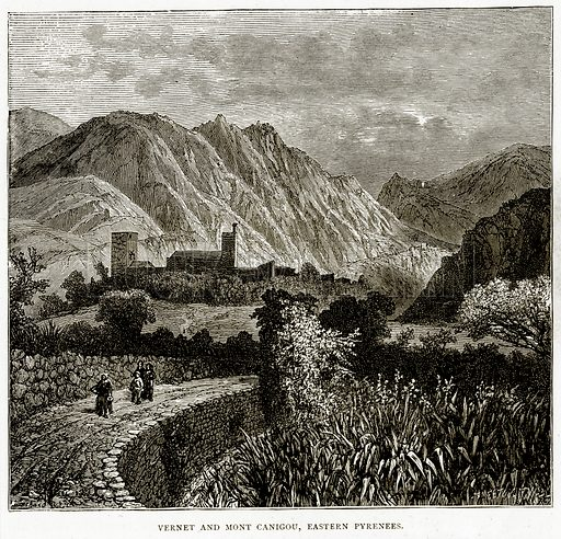 Vernet and Mont Canigou, Eastern Pyrenees. Illustration from French Pictures by Samuel Green (Religious Tract Society, c 1880).