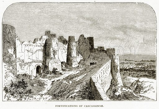 Fortifications of Carcassonne. Illustration from French Pictures by Samuel Green (Religious Tract Society, c 1880).
