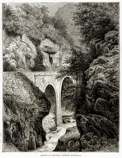 Bridge of Hourat, Central Pyrenels. Illustration from French Pictures by Samuel Green (Religious Tract Society, c 1880).