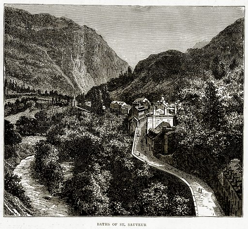 Baths of St Sauveur. Illustration from French Pictures by Samuel Green (Religious Tract Society, c 1880).