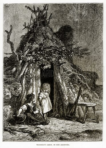 Woodman's Cabin, in the Ardennes. Illustration from French Pictures by Samuel Green (Religious Tract Society, c 1880).