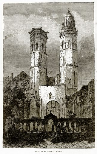 Ruins of St Vincent Macon. Illustration from French Pictures by Samuel Green (Religious Tract Society, c 1880).