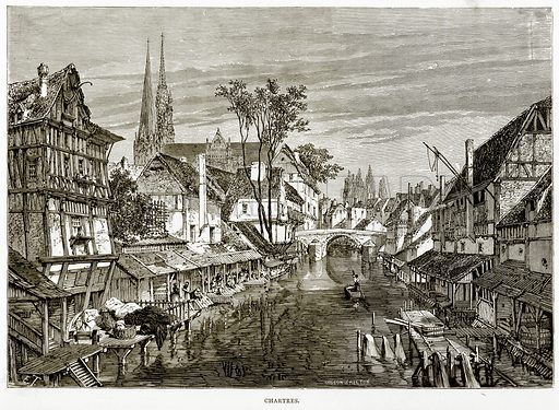 Chartres. Illustration from French Pictures by Samuel Green (Religious Tract Society, c 1880).