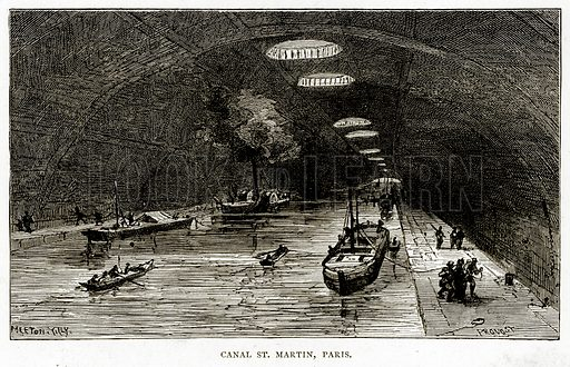 Canal St. Martin, Paris. Illustration from French Pictures by Samuel Green (Religious Tract Society, c 1880).