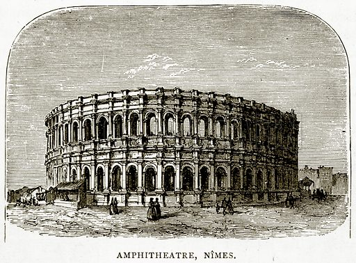 Amphitheatre, Nimes. Illustration from French Pictures by Samuel Green (Religious Tract Society, c 1880).