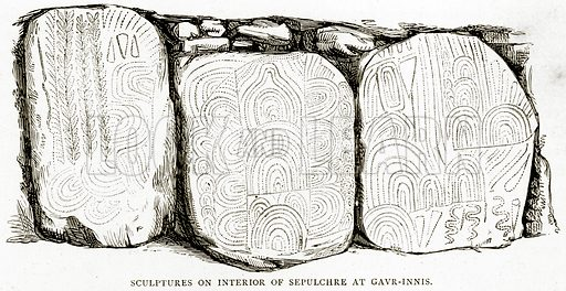 Sculptures on interior of Sepulchre at Gavr-Innis. Illustration from French Pictures by Samuel Green (Religious Tract Society, c 1880).