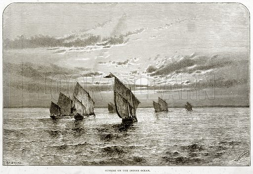 Sunrise on the Indian Ocean. Illustration from Sea Pictures by James Macaulay (Religious Tract Society, c 1880).