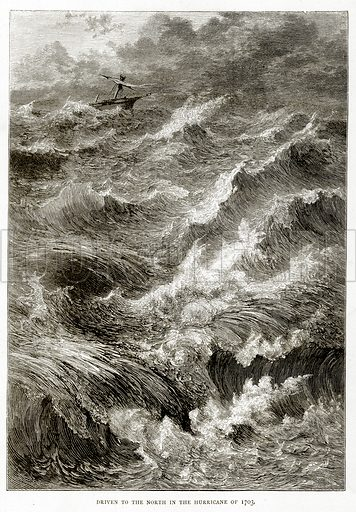 Driven to the North in the Hurricane of 1703. Illustration from Sea Pictures by James Macaulay (Religious Tract Society, c 1880).