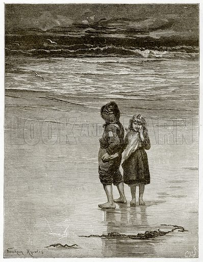 Children on the beach.  Illustration from Sea Pictures by James Macaulay (Religious Tract Society, c 1880).