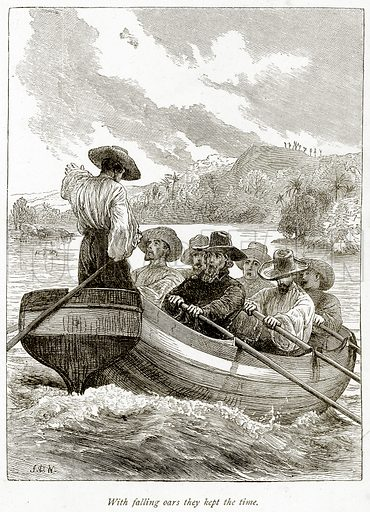 With falling oars they kept the time. Illustration from Sea Pictures by James Macaulay (Religious Tract Society, c 1880).