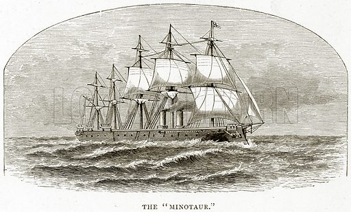 """The """"Minotaur."""" Illustration from Sea Pictures by James Macaulay (Religious Tract Society, c 1880)."""