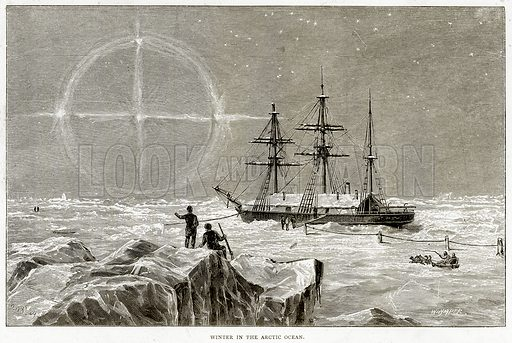 Winter in the Arctic Ocean. Illustration from Sea Pictures by James Macaulay (Religious Tract Society, c 1880).