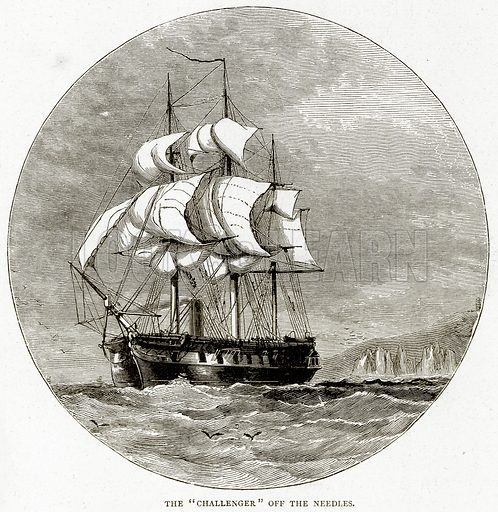 "The ""Challenger"" off the Needles. Illustration from Sea Pictures by James Macaulay (Religious Tract Society, c 1880)."