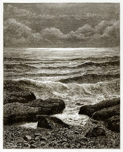 Waves.  Illustration from Sea Pictures by James Macaulay (Religious Tract Society, c 1880).
