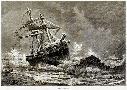 Wintry Winds. Illustration from Sea Pictures by James Macaulay (Religious Tract Society, c 1880).