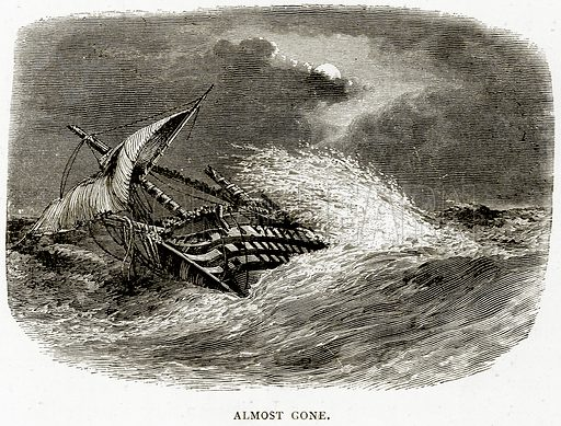 Almost gone. Illustration from Sea Pictures by James Macaulay (Religious Tract Society, c 1880).