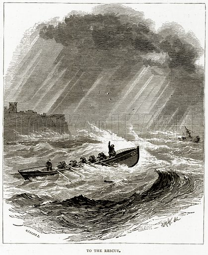 To the Rescue. Illustration from Sea Pictures by James Macaulay (Religious Tract Society, c 1880).