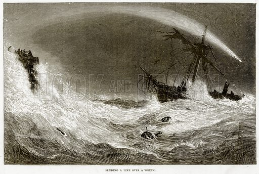 Sending a line over a Wreck. Illustration from Sea Pictures by James Macaulay (Religious Tract Society, c 1880).