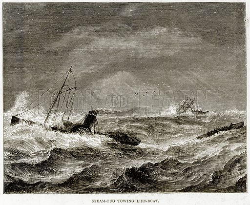 Steam-Tug Towing Life-Boat. Illustration from Sea Pictures by James Macaulay (Religious Tract Society, c 1880).