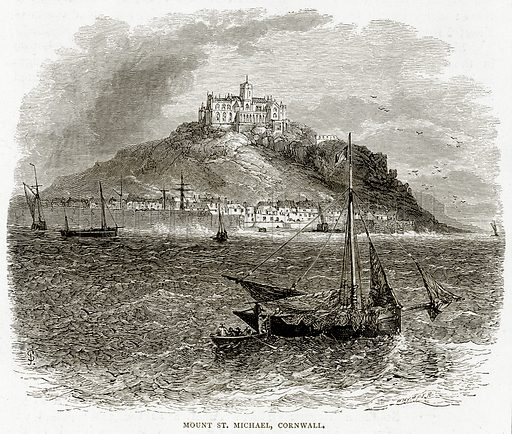 Mount St. Michael, Cornwali. Illustration from Sea Pictures by James Macaulay (Religious Tract Society, c 1880).