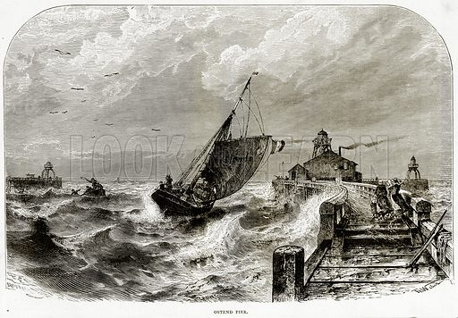 Ostend Pier. Illustration from Sea Pictures by James Macaulay (Religious Tract Society, c 1880).