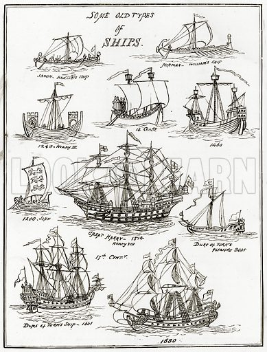 Some Old Types of Ships. Illustration from Sea Pictures by James Macaulay (Religious Tract Society, c 1880).