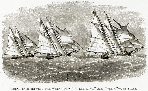 """Ocean Race between the """"Henrietta,"""" """"Fleetwing,"""" and """"Vesta""""--The start. Illustration from Sea Pictures by James Macaulay (Religious Tract Society, c 1880)."""