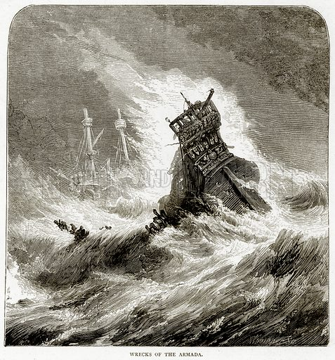 Wrecks of the Armada. Illustration from Sea Pictures by James Macaulay (Religious Tract Society, c 1880).