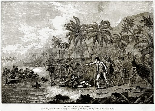 The Death of Captain Cook. Illustration from Sea Pictures by James Macaulay (Religious Tract Society, c 1880).