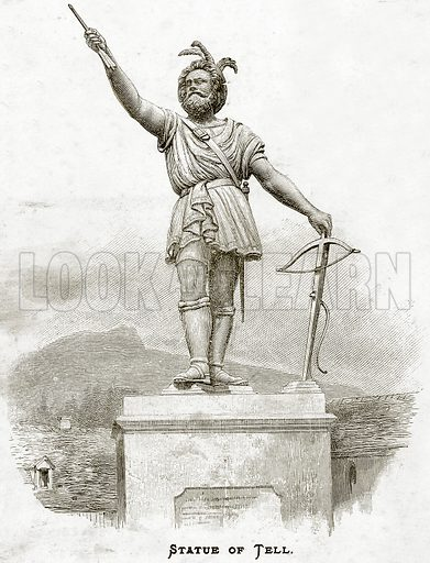 Statue of Tell. Illustration from Sea Pictures by James Macaulay (Religious Tract Society, c 1880).
