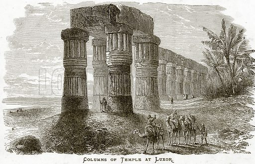 Columns of Temple at Luxor. Illustration from Sea Pictures by James Macaulay (Religious Tract Society, c 1880).