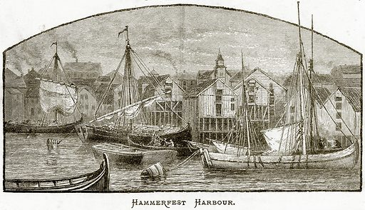 Hammerfest Harbour. Illustration from Sea Pictures by James Macaulay (Religious Tract Society, c 1880).