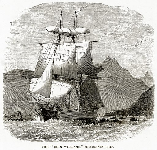 """The """"John Williams,"""" Missionary Ship. Illustration from Sea Pictures by James Macaulay (Religious Tract Society, c 1880)."""
