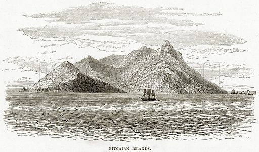 Pitcairn Islands. Illustration from Sea Pictures by James Macaulay (Religious Tract Society, c 1880).