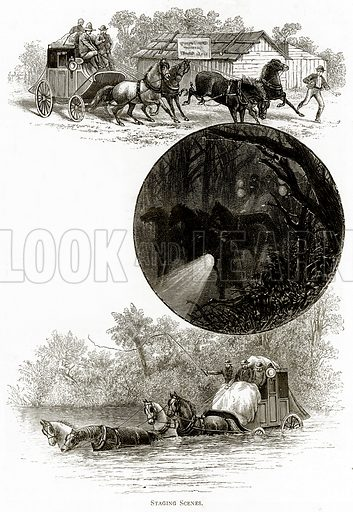 Staging Scenes. Illustration from Australian Pictures by Howard Willoughby (Religious Tract Society, c 1886).
