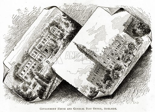 Government House and General Post Office, Adelaide. Illustration from Australian Pictures by Howard Willoughby (Religious Tract Society, c 1886).