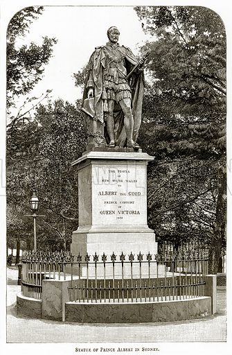 Statue of Prince Albert in Sydney. Illustration from Australian Pictures by Howard Willoughby (Religious Tract Society, c 1886).